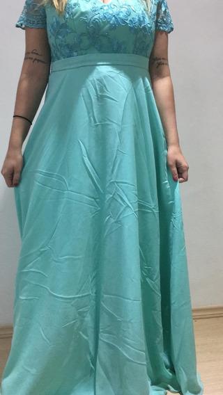 Vestido De Festa Madrinha G Verde Tiffany Renda Musseline