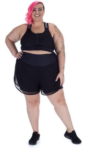 Shorts Plus Size Wonder Size Preto Duplo Tela