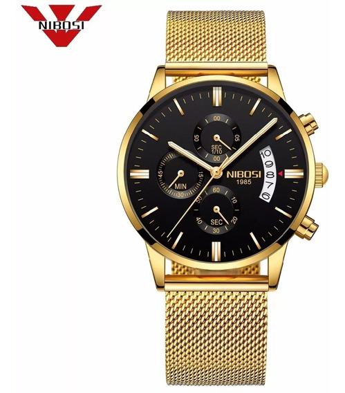 Relógio Unissex Nibosi 2309 Pulseira De Aço Pronta Entrega