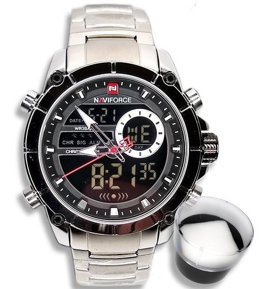 Relógio Masculino Naviforce Original Importado Prata Luxo