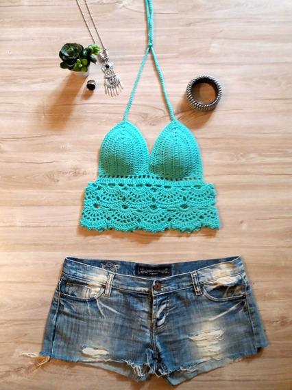 Crop Top Tejido A Crochete Hilo Algodon Moda 2020!!!