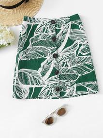 Falda Verde Floreada Con Botones Para Dama Algodón