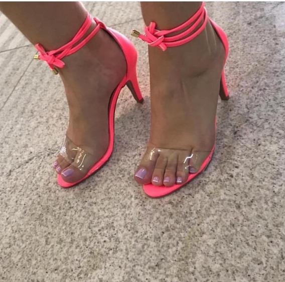 Sandália Clássica Amarração Em Vinil Transparente E Neon 7cm