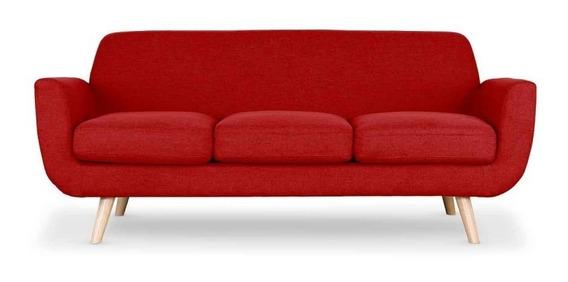 Prado Sofá Estilo Moderno 3 Personas Color Rojo