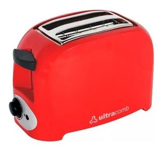 Tostadora Ultracomb To4005 De Pan Lactal 750w Roja