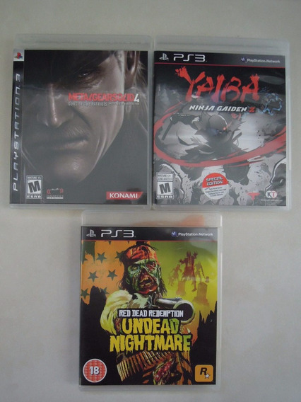 Lote De Jogos Ps3 - Mgs 4, Red Dead Redemption Un E Yaiba