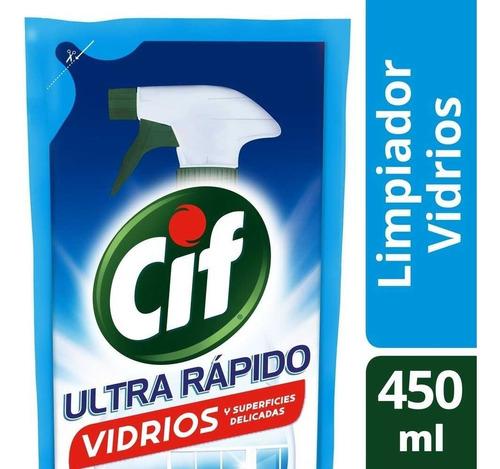 Repuesto Cif Eco Gatillo Limpiador Líquido Vidrios 450 Ml