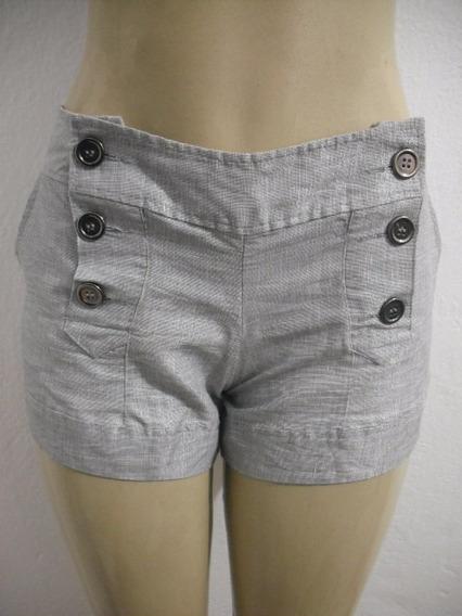 Shorts Feminino Cinza Frente Militar 6 Botões Tam 42 Ótimo