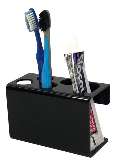 Suporte Escova De Dente Creme Dental 4 Escovas Preto