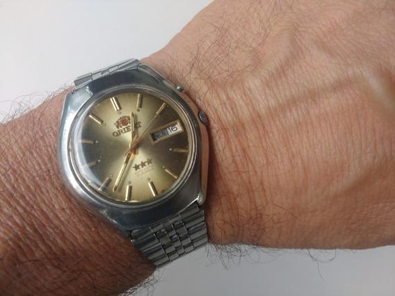 Relógio Orient Automático Masculino Antigo Marrom Semi Novo