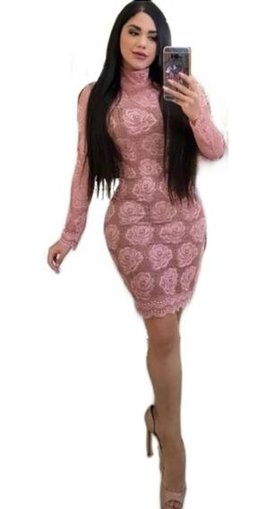 Hermoso Vestido Con Encaje Crochet De Flores Color Rosa