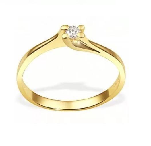 Anel Solitário De Ouro Amarelo 18k Diamante De 5 Pontos Vj