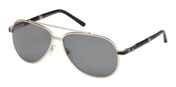 Lentes Gafas Mont Blanc Mb526s Gold Black Aviador Italy 62mm