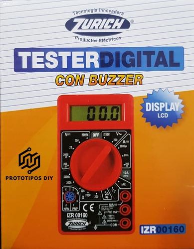 Imagen 1 de 3 de Tester Digital Multimetro Zurich Izr00160 + Puntas -pdiy-
