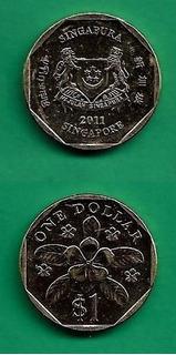 Grr-moneda De Singapur 1 Dollar 2011