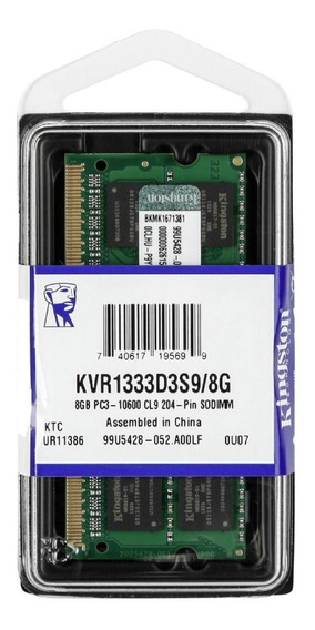 Memória Ddr3 1333mhz 8gb Kingston Notebook Macbook Pro 13-inch Early 2011 iMac 21.5-inch 27-inch I5 Mid 2011
