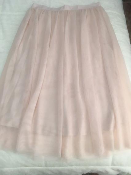 Falda Color Palo De Rosa Elegante Con Randa Tipo Pliegue