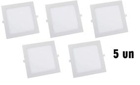 Kit Com 5 Painel Plafon 18w Luminaria Led Quadrado Embutir