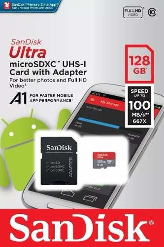 Cartão Micro Sd Sandisk A1 Ultra 128gb 100mb/s + Adaptador