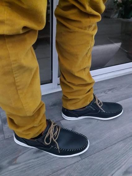Zapatos Hombre Cuero Nauticos Forrados Negro,azul,marron F