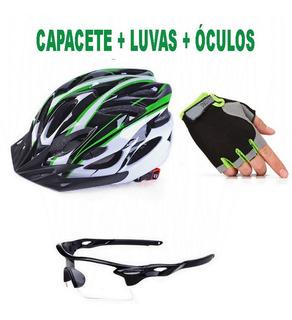 Kit Bike Ciclismo Capacete Verde + Óculos + Luvas Verde