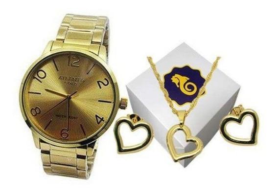 Relógio Atlantis Gold Feminino Especial Queima De Estoque