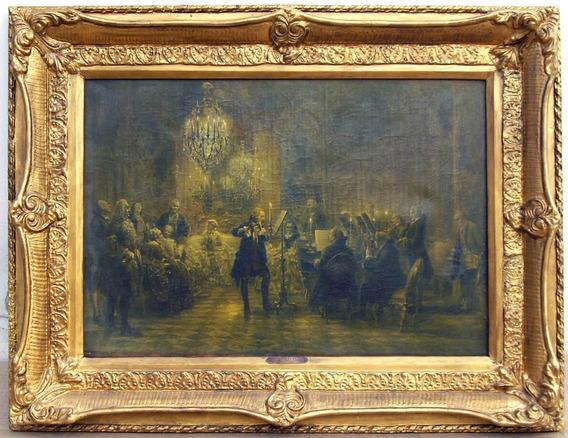 Antigua Litografía Adolf Menzel - 1852 (concierto De Flauta