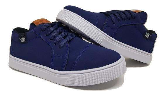 Zapatillas De Nene/niño Color Gamuza Azul Talles 19 Al 34