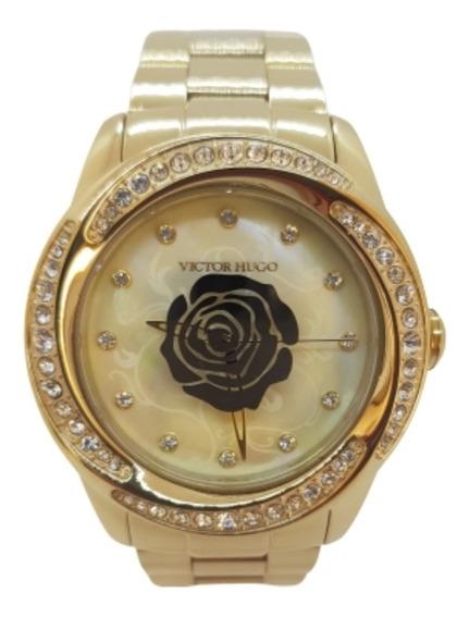 Relógio Feminino Dourado Victor Hugo Com Fundo Madrepérola