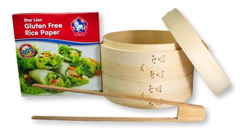 Vaporera 20cm 2 Niveles + Papel De Arroz + Pinza De Bambú