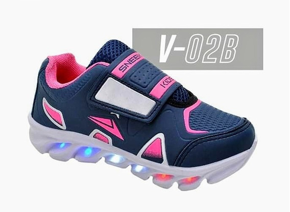 Tênis Velcro De Led Infantil Meninos Meninas
