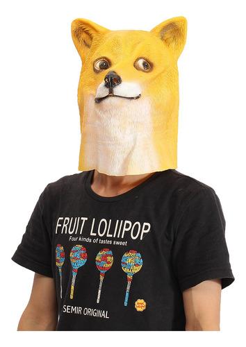 Máscara De Cabeza De Perro De Látex De Goma De Cosplay De An