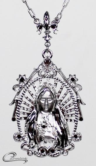 Colar, N.s De Fátima, Folheado, Rhodium, Ouro 18k ,joia