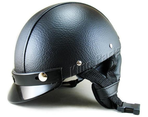 Capacete Coquinho Preto Em Couro Moto Choper Custom