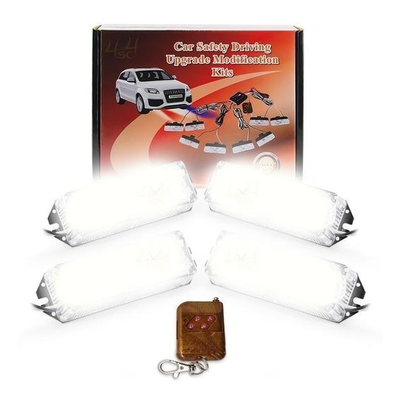 Strobo Led 4 Farol Cont Efeitos Led 24w Safety Car Light 12v