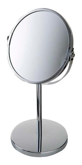 Espelho De Aumento Giratório Dupla Face Maquiagem Inox Mor