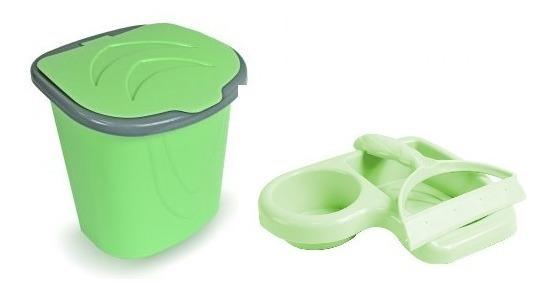 Kit Porta Detergente Rodinho E Lixeira Pia Cozinha Plástico