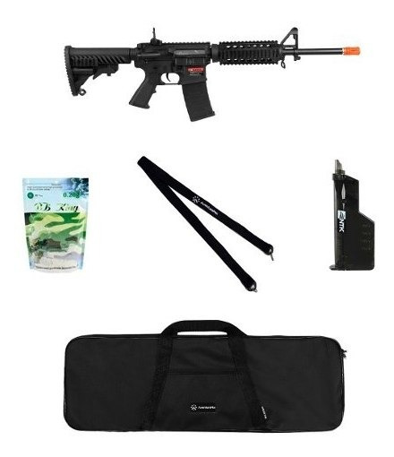 Rifle Airsoft M4a1 Kompetitr Blowback 6mm + Acessórios + Bbs