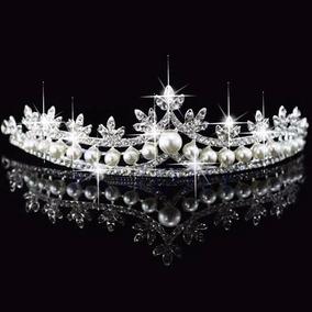 Coroa 15 Anos Princesa Tiara Miss Noiva Casamento Perola D+3