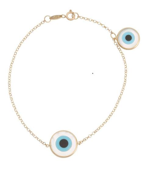 Pulseira Olho Grego Em Ouro 18k