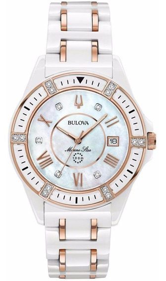 Bulova Marine Star 17 Diamantes Para Dama Original 98r241