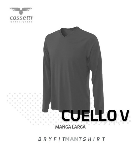 Playera Cuello V Cossetti Manga Larga Dry Fit Xl, 2xl, 3xl