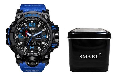 Relógio Masculino G-shock Esporte Militar Smael 1545 Azul