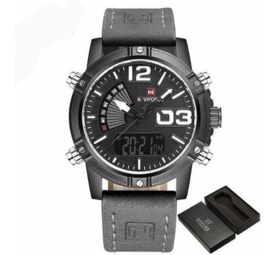 Relógio Naviforce Nf9095bby Couro Cinza Analógico + Digital