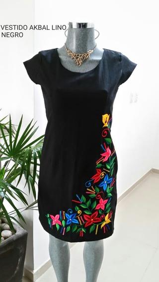 Vestido Akbal Lino Negro