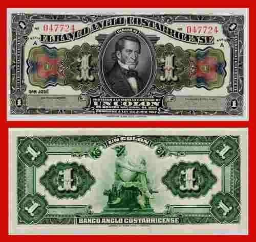 Costa Rica 1 Colon 1917 Pick-s121 Banco Anglo Costarriquenho