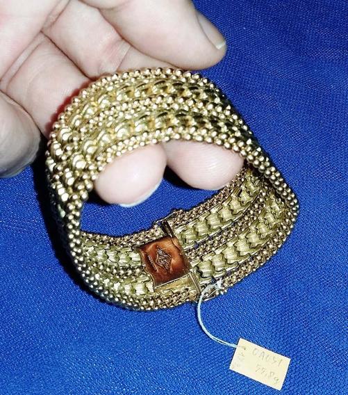 Ouro 55,8g Pulseira Bracelete 18,9cm Elos Trabalhado 3 Tipos