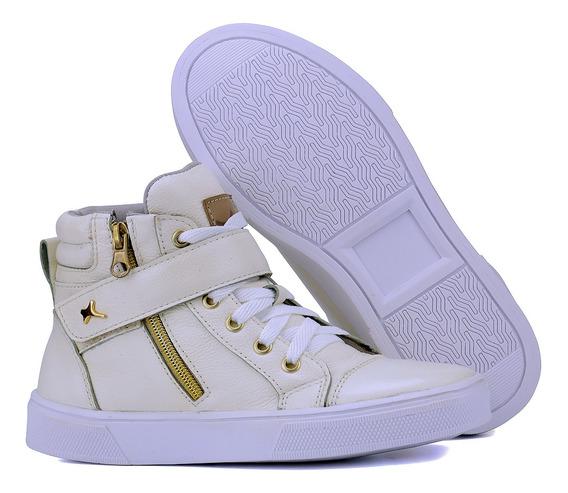 Botinha Treino Fitness Sneaker Couro Legítimo Frete Grátis