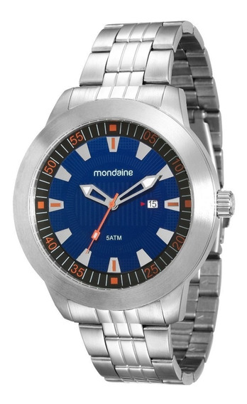 Relógio Masculino Mondaine Prata Fundo Azul 94964 G0mvna2