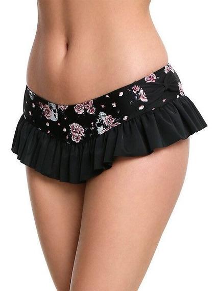 Bikini Floral Con Cráneos Color Negro Y Rosa